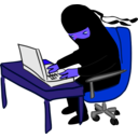 download Ninja Working At Desk clipart image with 225 hue color