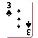 download White Deck 3 Of Spades clipart image with 315 hue color