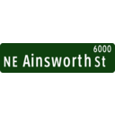 Portland Oregon Street Name Sign Ne Ainsworth Street