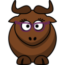Cartoon Gnu Nerdy Cute