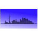 download Shangai City Skyline clipart image with 45 hue color