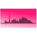 download Shangai City Skyline clipart image with 135 hue color