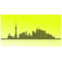 download Shangai City Skyline clipart image with 225 hue color