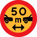 50m Between Cars Sign