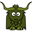 download Cartoon Yak clipart image with 45 hue color