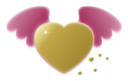 Gold Heart With Pink Wings