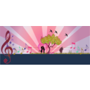download A Love Note In Music In Nature clipart image with 315 hue color