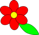 Flower Six Red Petals Black Outline Green Leaf