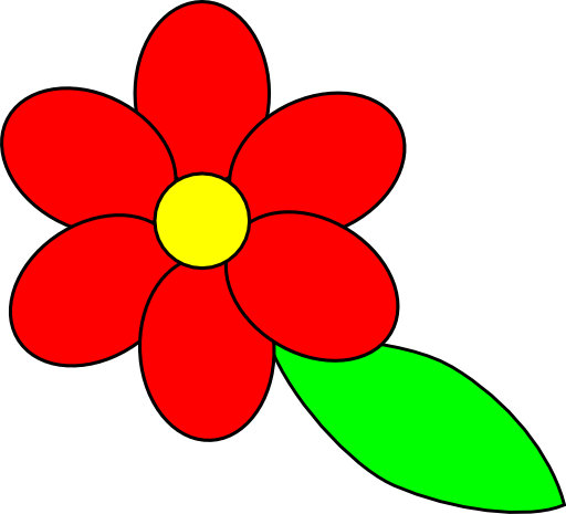 Clipart Flower Six Red Petals Black Outline Green Leaf 512x512 9c36 on Clipart Flower Six Petals Black Outline
