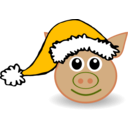 download Funny Piggy Face With Santa Claus Hat clipart image with 45 hue color