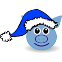 download Funny Piggy Face With Santa Claus Hat clipart image with 225 hue color