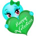 download Happy Valentine Girl Smiley Emoticon clipart image with 135 hue color