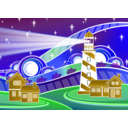 download Stylised Lighthouse Scenery clipart image with 45 hue color
