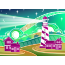 download Stylised Lighthouse Scenery clipart image with 315 hue color