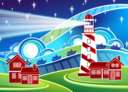 Stylised Lighthouse Scenery