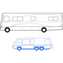download Two Motorhomes clipart image with 225 hue color