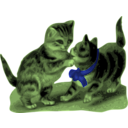 download Kittens One With Blue Ribbon clipart image with 45 hue color