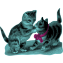 download Kittens One With Blue Ribbon clipart image with 135 hue color