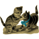 Kittens One With Blue Ribbon