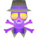 download Dapper Skull clipart image with 225 hue color