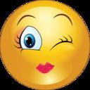 Winky Girl Smiley Emoticon