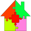 download Puzzle House clipart image with 315 hue color