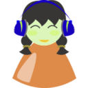 download Cute Girl With Headphone clipart image with 45 hue color