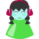 download Cute Girl With Headphone clipart image with 135 hue color