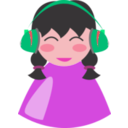 download Cute Girl With Headphone clipart image with 315 hue color
