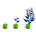 download Green Plant In Its Pot In Three Different Phases Of Growth clipart image with 90 hue color
