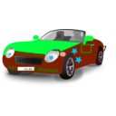 download Red Blue Convertible Sports Car clipart image with 135 hue color
