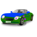 download Red Blue Convertible Sports Car clipart image with 225 hue color