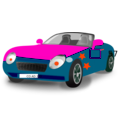 download Red Blue Convertible Sports Car clipart image with 315 hue color