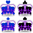 download Stylized Crowns For Card Faces clipart image with 225 hue color