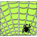 download Spider On A Spider Web clipart image with 45 hue color