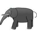 download Grey Elephant clipart image with 135 hue color