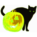 download Cat And Jack O Lantern clipart image with 45 hue color