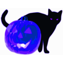 download Cat And Jack O Lantern clipart image with 225 hue color