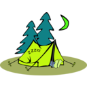 download Sleeping In A Tent clipart image with 45 hue color
