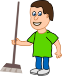 Young Housekeeper Boy With Broomstick