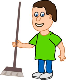 Young Housekeeper Boy With Broomstick Clipart I2clipart