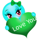 download Love You Girl Smiley Emoticon clipart image with 135 hue color