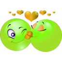 download Kissing Couple Smiley Emoticon clipart image with 45 hue color