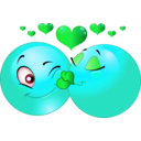 download Kissing Couple Smiley Emoticon clipart image with 135 hue color