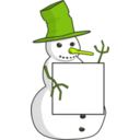 download Sign Holding Snowman clipart image with 45 hue color