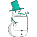download Sign Holding Snowman clipart image with 135 hue color