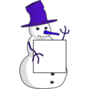 download Sign Holding Snowman clipart image with 225 hue color