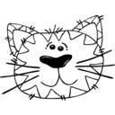 download Cat Line Art clipart image with 0 hue color