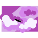 download Plane Silhouette Flying Through Clouds clipart image with 90 hue color