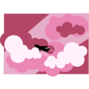 download Plane Silhouette Flying Through Clouds clipart image with 135 hue color
